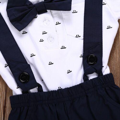 2PCS Kids Baby Boy Toddler Romper T-shirt+Bib Short Pants Overalls Outfits Set