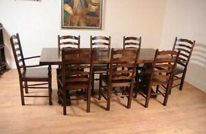 Image Is Loading Oak Kitchen Dining Set Ladderback Chairs Refectory