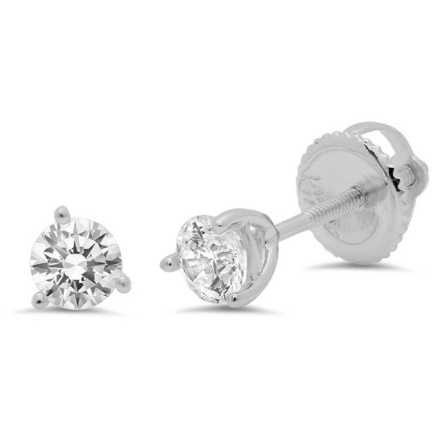 0.3ct Round Cut Stud Solitaire Earrings Martini Solid 14k White Gold Screw Back