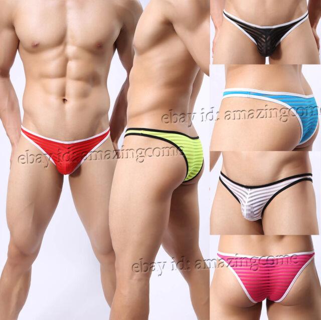 3PCS//Lot Men/'s Glazed Gauze Mesh Striped Bikini Briefs Underwear Thong Brief
