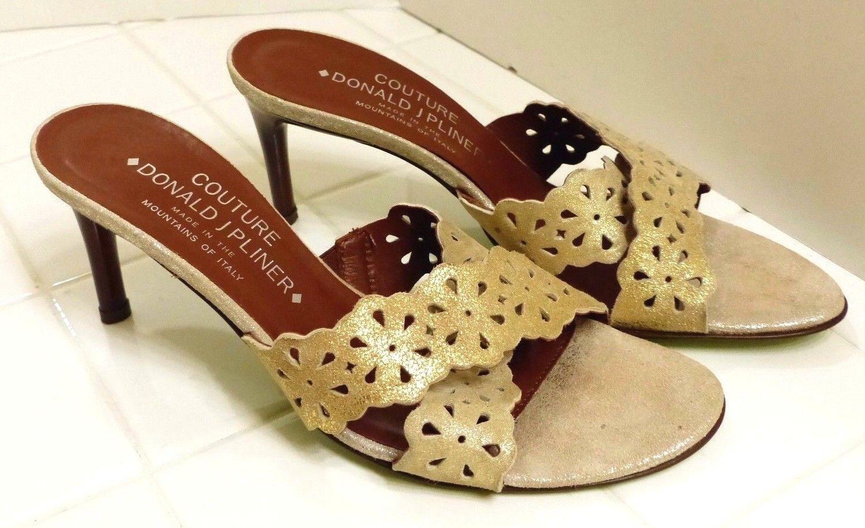 EUC Donald J. Pliner Couture Women's 6M Antique gold Stylish Slim Heel Sandals