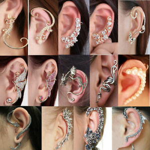 Meriling Gold Enamel Snake Ear Cuff Earring Single Ear Wrap