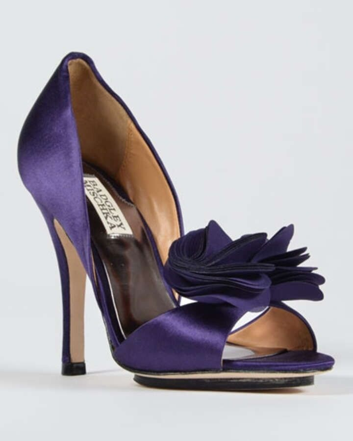 New in Box Badgley Mischka Randall Violet Satin d'Orsay Talon Sandale Bout Ouvert Chaussures 10