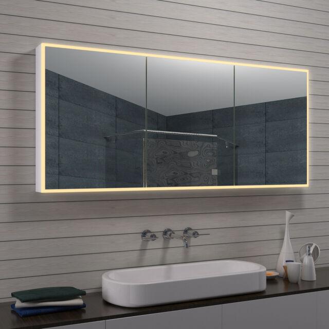 Alu Minium LED Beleuchtung Licht Wand Bad Badezimmer Schmink Spiegel  Schrank 160