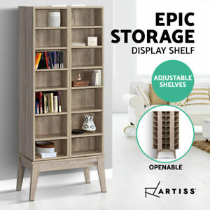 Multimedia Shelf Bookcase CD Media Storage 14 visible 14 hidden shelves Adjustab