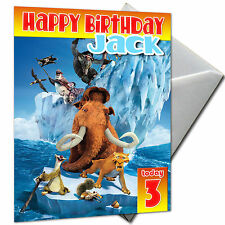 ICE AGE - PERSONALISED  Birthday Card Large A5 + Envelope