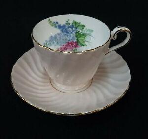 Teacup-Saucer-Aynsley-Pink-Swirl-Fine-Bone-China-Floral-Interior-Gold-Trim
