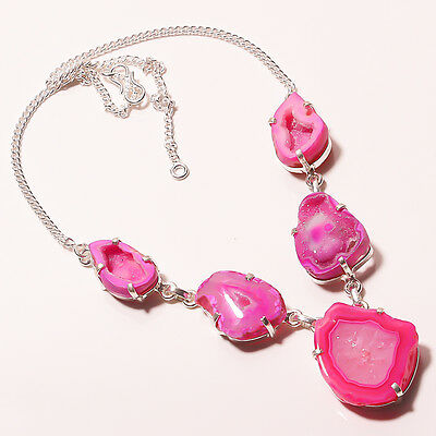 """35 GM .925 STERLING SILVER BEAUTIFUL PINK DRUZY SLICE AGATE NECKLACE 17""""18"""""""