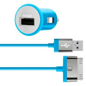 Belkin-MIXIT-iPhone-4S-4-3G-iPad-3-2-1-Fast-2-1Amp-10W-Car-Charger-amp-Cable-Blue