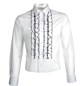 select for genuine coupon code 50% off Details about New Men's White Black Ruffled Ruffles Tuxedo Shirt Spread  collar Slim Fit Fitted