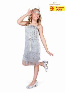 6f43c72b4f573 Image is loading Girls-Silver-Flapper-Costume-Childs-1920s-Charleston-Fancy-