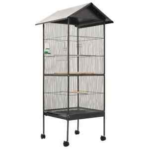 vidaXL-Bird-Cage-with-Roof-Grey-66x66x155cm-Steel-Aviary-House-Stand-Habitat