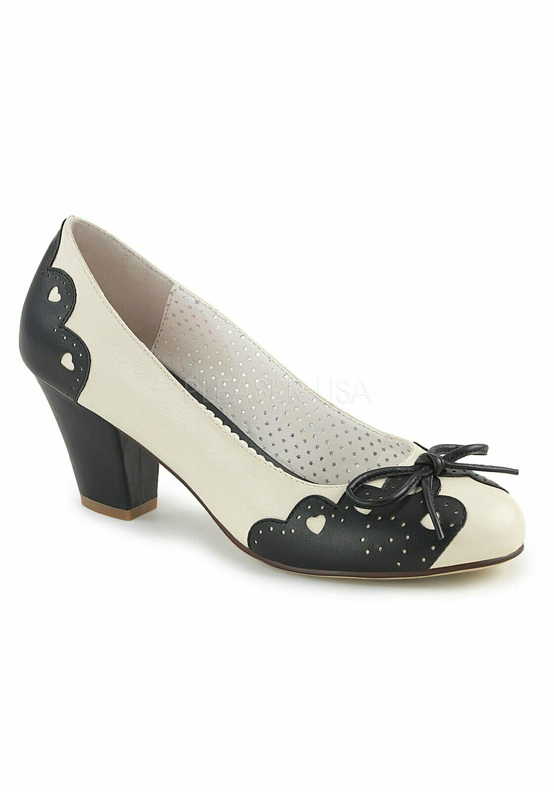 Pin Up Couture WIGGLE-17 2 1 2 Inch Cuben Heel Pump With Bow at Toe