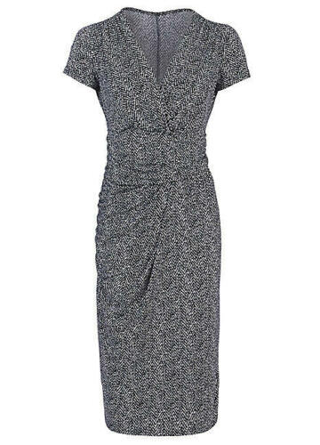 Kaleidoscope Size 24 Navy Blue and Ivory Mock Wrap Stretch Dress