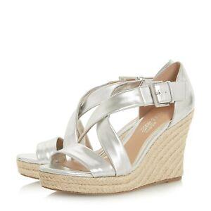 e9231dbb8e0 Details about BNIB Dune Silver Leather High Espadrille Wedge Cross Strap  Sandals Shoes Sz 3 36