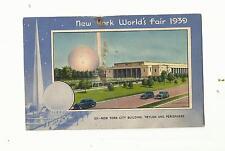 NEW YORK WORLDS FAIR 1939 POSTCARD, TRYLON AND PERISPHERE, EXPRESSWAY