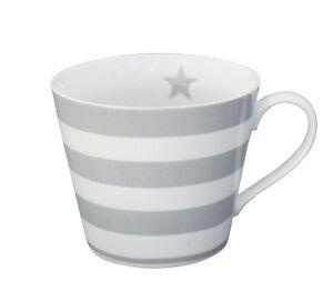 Kaffeetasse Happy cup grey stripes grau gestreift HC190 Krasilnikoff
