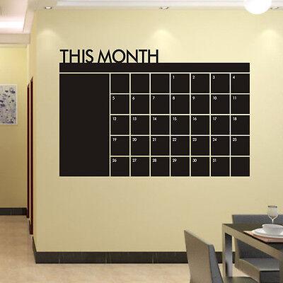 60x92 Month Plan Calendar Chalkboard MEMO Blackboard Vinyl Wall Sticker Nice