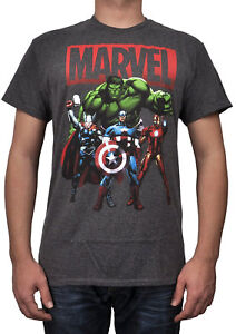 22bf3f41e2b2 Marvel Avengers Group Adult Shirt T-Shirt S-2XL Gray X04 | eBay