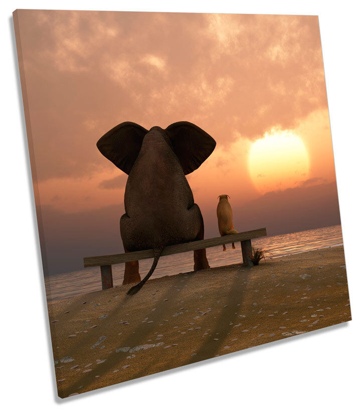 Best Friends Sunset Beach SQUARE BOX FRAMED CANVAS ART Picture