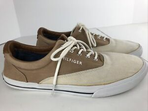 Hilfiger-Two-Tone-Tan-Boat-Shoes-MEN-039-S-9-5-Canvas-Leather-Preowned-Clean