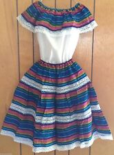 "Beautiful Mexican Dress ""Fiesta"" Girls Skirt & Blouse 8 to 10 yrs old Sku# K104"