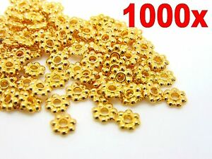 1000X-Gold-Plated-Daisy-Spacer-Beads-Jewellery-Craft-Bead-Findings-4mm-amp-6mm