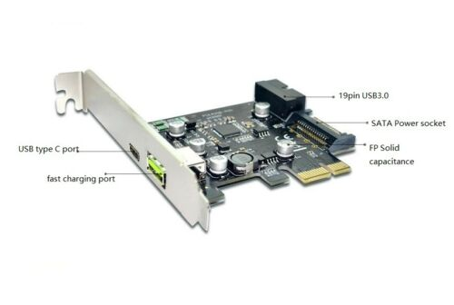 Type C USB Rapid Charge Port PCI-e Card 3 in 1 Internal 19 20 pin USB3.0