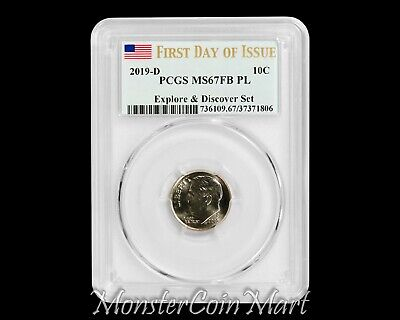 PCGS MS67 FB 2019 P/&D Roosevelt Dime 2 Coin Set 10C ~ FIRST DAY OF ISSUE