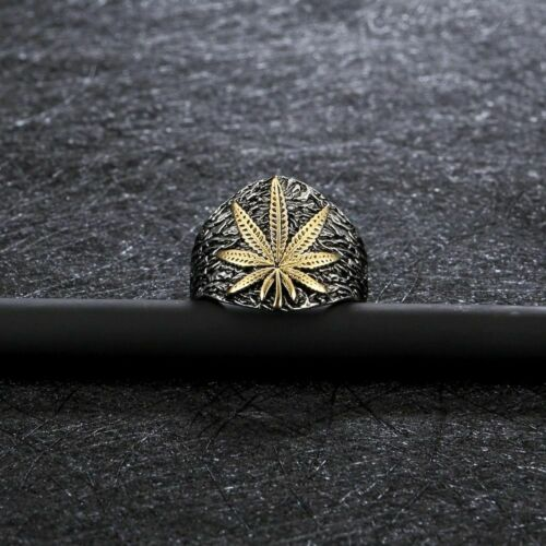 Cannabis Leaf Titanium Steel Ring Weed Mens Ring Durable Scratch Resistant