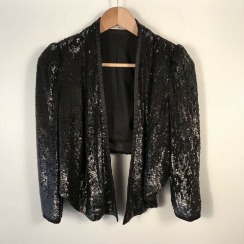 Uk Womens Jk064 Jacket Størrelse Evening 8 Black Beskåret Karen Party Sequin Millen qA0FBFt