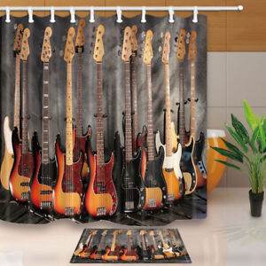 Image Is Loading 3D Print Guitar Musical Instruments Waterproof Shower Curtain