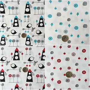 8d672310cab84d Das Bild wird geladen Baumwolle-Stoff-Haus-Muster-Voegel-Kreis-Punkte-rot-