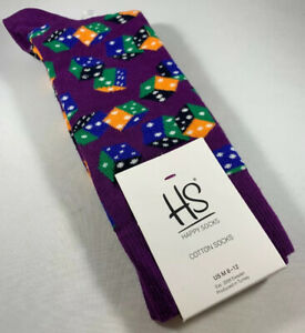 MEN-039-S-HAPPY-SOCKS-BRIGHT-DICE-PATTERN-DRESS-SIZE-10-13-CREW-SOCKS-NWT