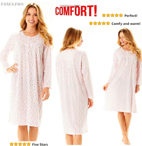 Image is loading Plus-Size-Womens-Long-Sleeve-Cotton-Night-Gown- f34f6e15cc