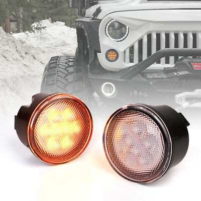 Xprite LED Turn Signal Light Assembly with Clear Lens for 14-18 Jeep Wrangler JK