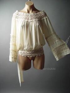 New Shirt Blouse Top Ruffle Lace Ivory Peach XL 2XL 3XL