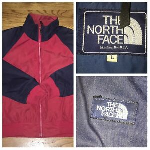 Vtg-The-North-Face-Men-039-s-Red-Full-Zip-Windbreaker-Jacket-Size-Large