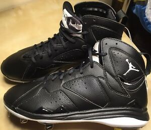 Nike Air Jordan 7 Retro Metal Baseball Cleats 684943-010 Black Oreo Men