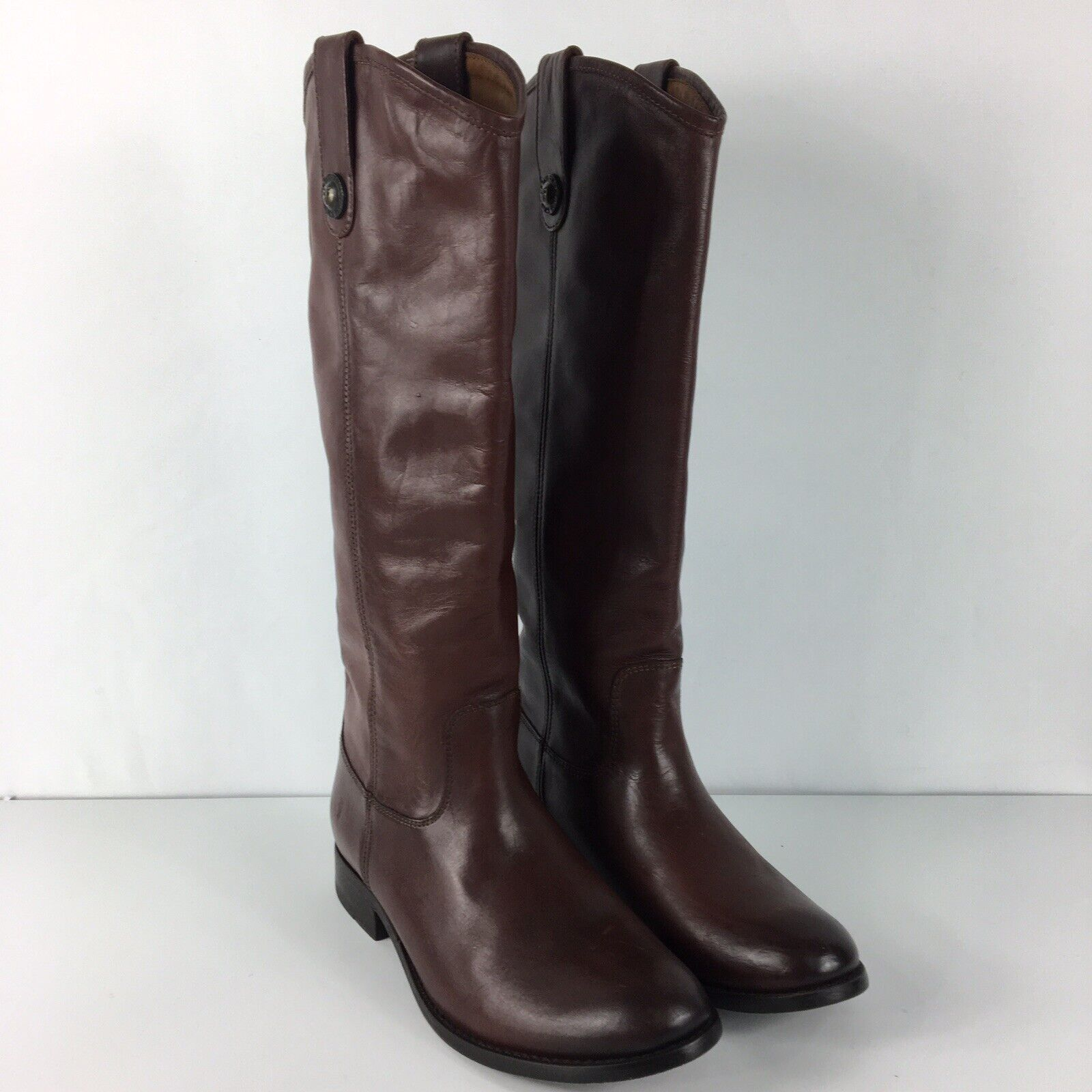Frye Melissa Button Women's Tall Leather Riding Boots Redwood Brown Size 6