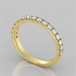 0.48 Ct Round Moissanite Engagement Eternity Band Solid 18K Yellow Gold Ring 7 8