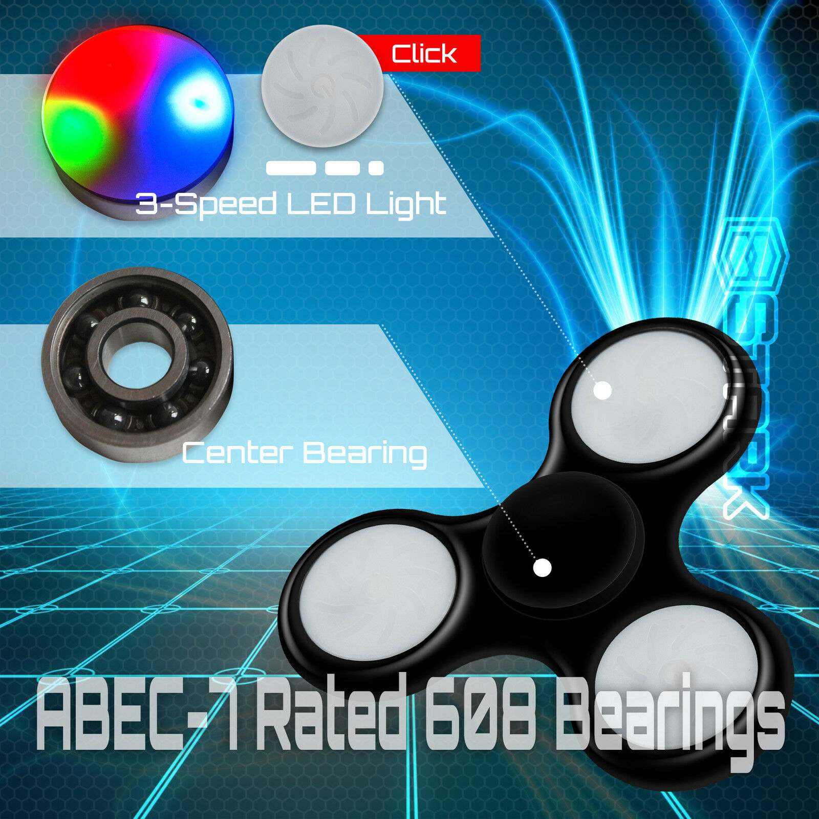 blueE LED Hand Spinner Tri Fidget Focus Desk Toy EDC EDC EDC ADHD Autism KIDS ADULT x50 8a0e94