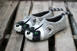 Details about Raccoon custom slippers, handmade natural wool felted shoes, wild animals, coon