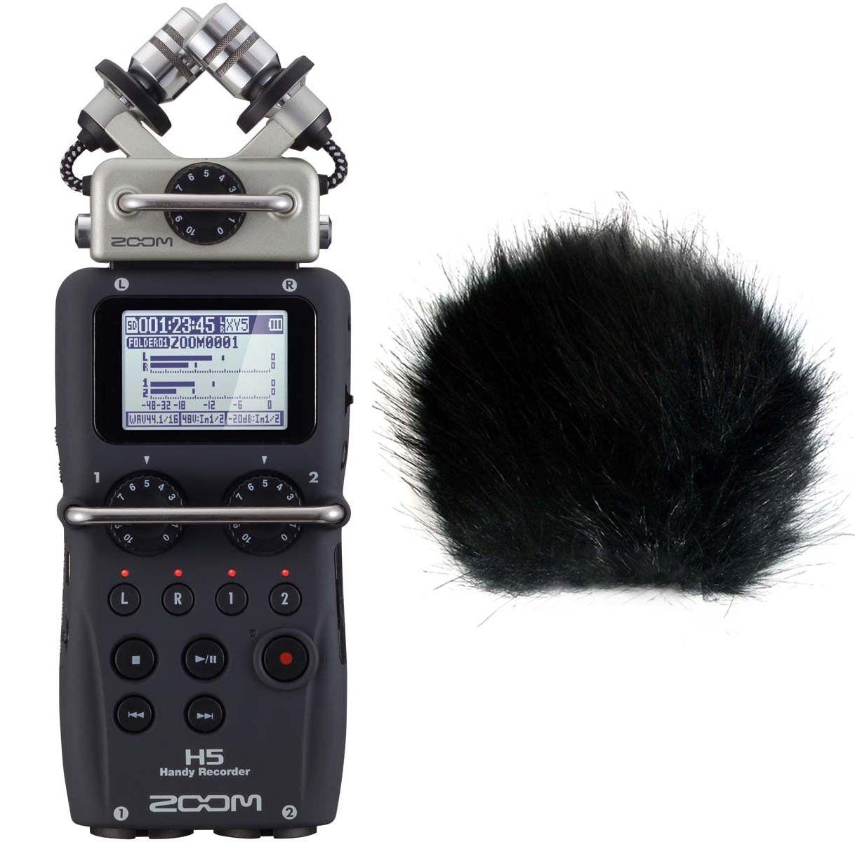 Zoom H5 Mobil-Recorder + Fell-Windschutz