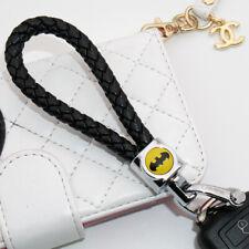 Universal Batman Emblem Key Chain Ring Bv Calf Black Leather Gift Decoration Fits More Than One Vehicle