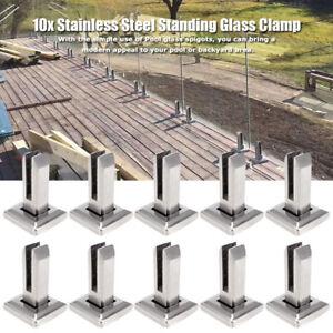 10x-Edelstahl-Gelaenderpfosten-fuer-Glashalter-Glasgelaender-Gelaenderbalkon-Pfosten
