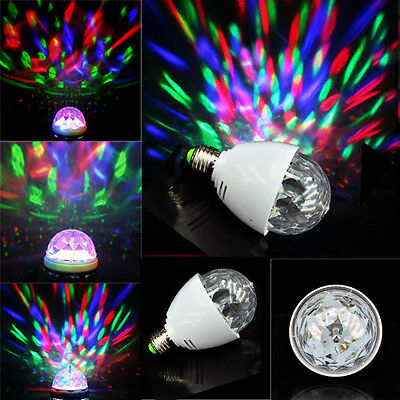 Led E27 3W Stage Light RGB Crystal Magic Ball Rotating Lamp ForParty Disco XL-15