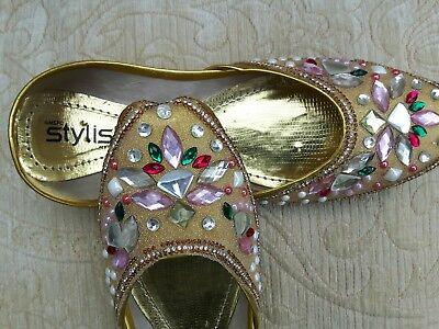 Oro señoras Indio De Cuero Zapatos De Boda Talla 4