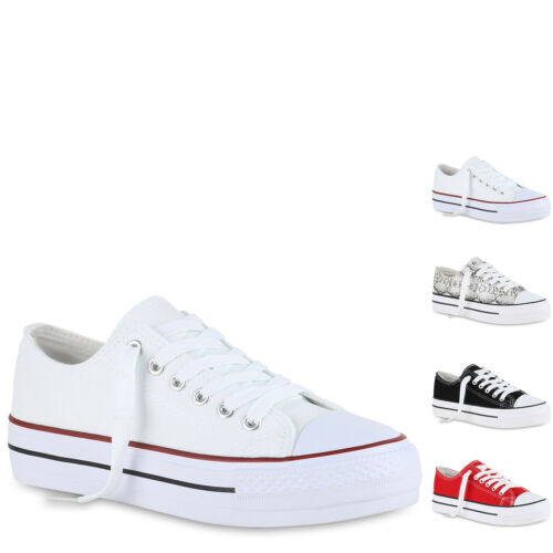 Damen Sneaker Low Basic Canvas Turnschuhe Schnürer Freizeit 897079 Hot