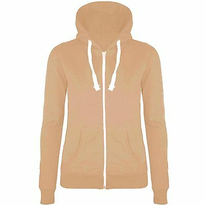 Womens Plain Hoodie Zip Up Ladies Hooded Jacket Sweatshirt Hoody Top 8 10 12 14